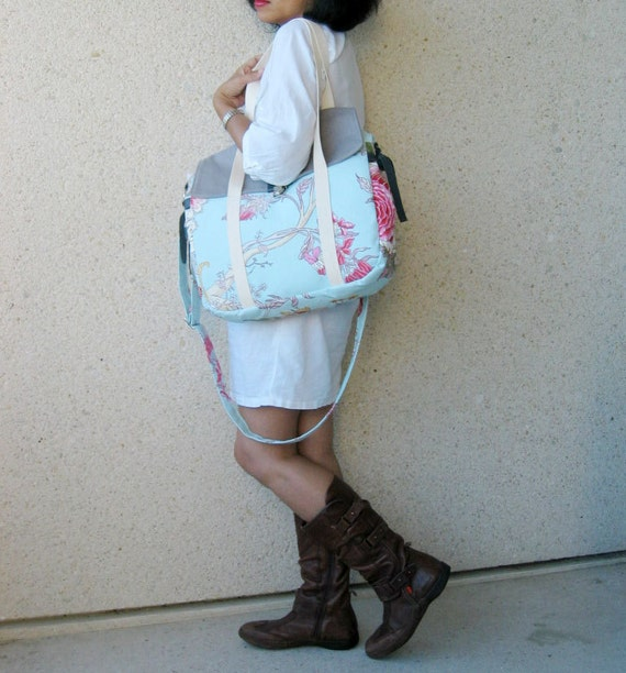 Mireille Large Diaper Bag - Travel Bag - Carry All Bag in French Upholstery Canvas Fabric