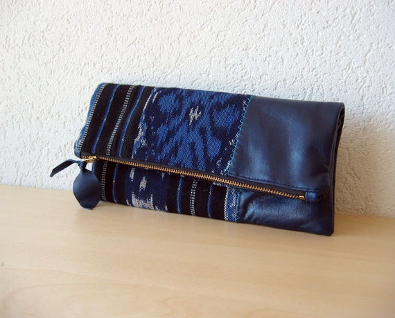 Ikat and Leather Clutch in Italian Leather and Handwoven Ikat Fabric - Indie Patchwork Series - NEW