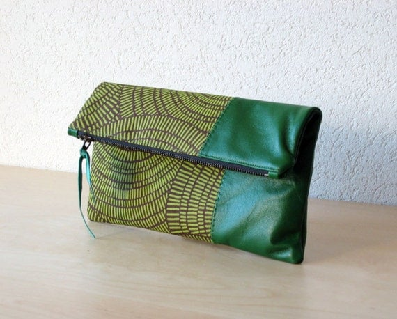Leather Clutch in Italian Leather and European  Canvas - Indie Patchwork Series