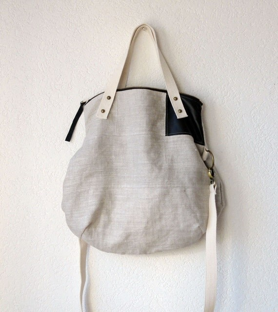 Aurelie Hobo Bag with Folded Top  and  Zipper Closure  in Upholstery European Natural Linen - Made to Order