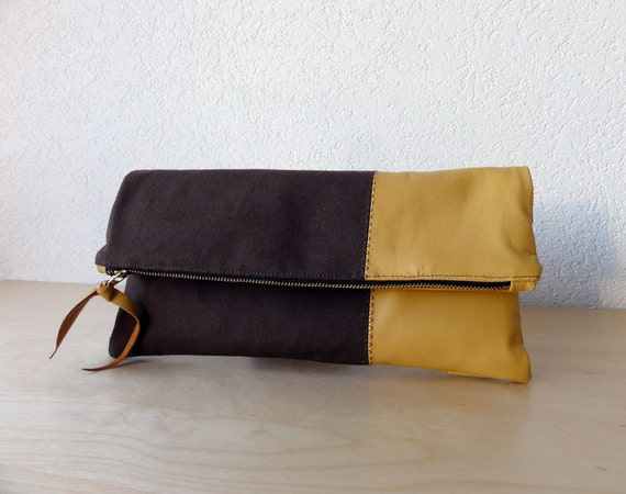 The Large Leather Clutch in Dark Brown Colour Canvas and Beige Italian Leather  - Indie Patchwork Series - 12 Inch Wide