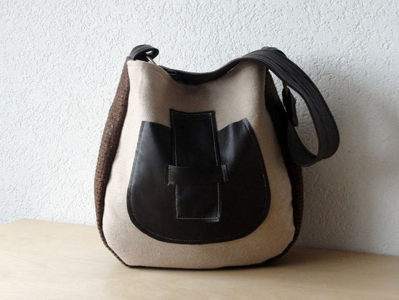 Leather Handle Hobo Bag in Beige Canvas, European Wool and Brown Italian Leather