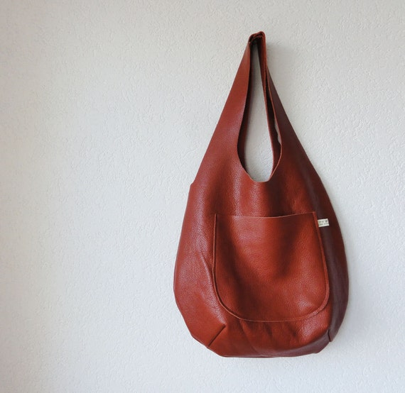 Large Leather Hobo Bag in Cow Leather - Made to Order