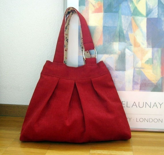 Your Multitask Bag -  Stunning Red  Canvas with Japanese Fabric