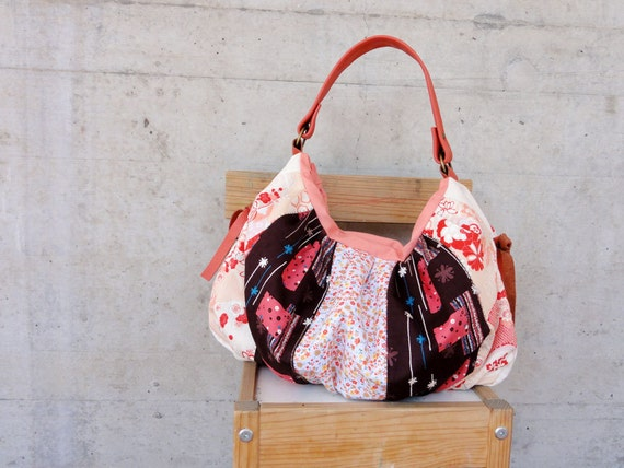 Modern Patchwork Pleated Bag with Italian Leather Handle in Pink - Le Jardin des Fleurs Series - Orange and Brown Colour