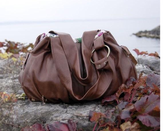 Pomegranate Leather Bag - Cognac Colour - NEW