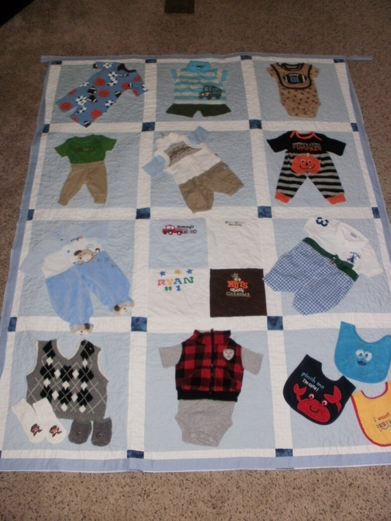Baby clothes quilt custom made for dana for What to do with an old quilt