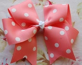 Peach Polka dot Hair bow