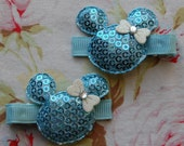 Blue sequin Minnie mouse clippie set