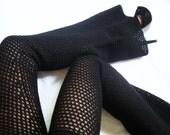 Black Moon Wool Crochet Bell Bottom Pants / Flared Leggings - Size Small