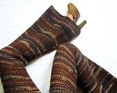 Woodsmaiden Wool Crochet Bell Bottom Pants / Flared Leggings - Size Medium