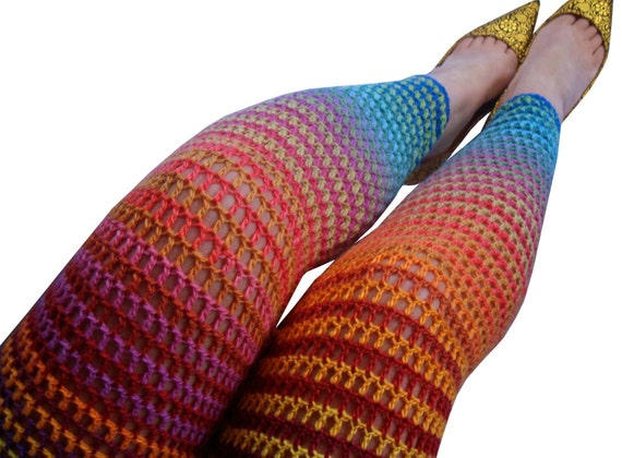 Rainbow Bright Wool Crochet Leggings - Size Small / Size 4-6 - Footless Tights