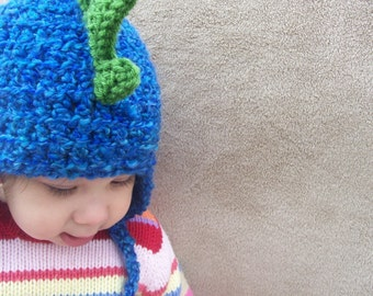 Dragon Hat in Deep End Blue with Grass Green Spikes, Gift for Boys, Dino Hat, Halloween Costume for Trick or Treat, Kids Beanie