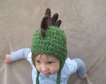 Dragon Hat in Olive Green - Animal Hat, Spikey Dino Hat, Boy's Hat