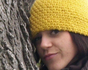 Crocheted Hat - The Slouch Beanie in Mustard