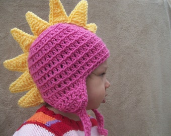 Ready to Ship // Last Minute Gift // Dragon Hat in Bright Pink // Toddler Animal Hat, Dino Hat for Kids, Crochet Animal hat, Gift for Girls