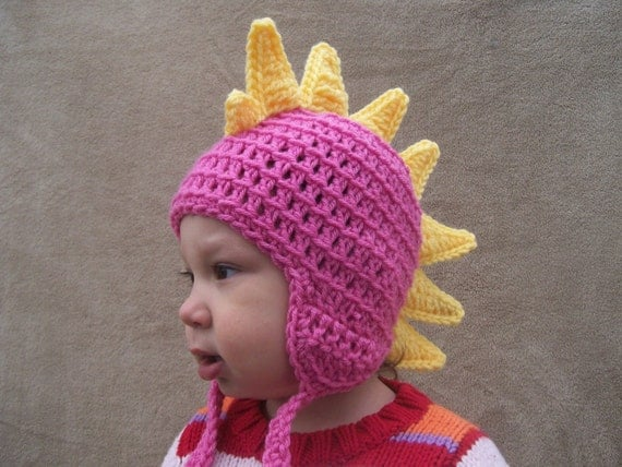 Girl's Dinosaur Hat - Dragon Hat in Bright Pink -Crochet Animal Hat