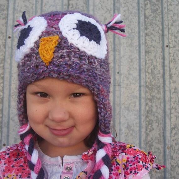 Owl Hat in Violet Swirl - Woodland Hat, Bird Hat, Boutique Style Hat