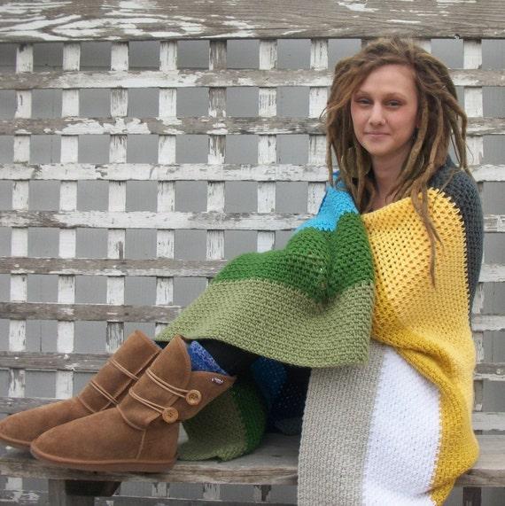 Crocheted Afghan Throw Blanket - The Camping Blanket in Spring