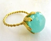 Cocktail Hour, Peruvian Chalcedony Floral Bloom Ring, Vintage Brass Size 6.5 or 7