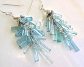 "RESERVED for P... Fantastic Natural Aquamarine Crystals, Sterling ""Sassypants"" Gemstone Earrings..."