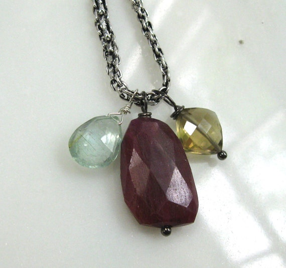 Simple 18 carat Raw Red Ruby Slab, Whiskey Quartz, Moss Aquamarine focal necklace, Sterling chain...