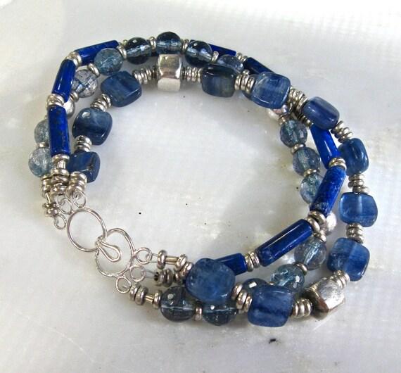 Winter Walk...Lapis, Kyanite, Aquamarine Triple Strand Bracelet, Sterling Silver