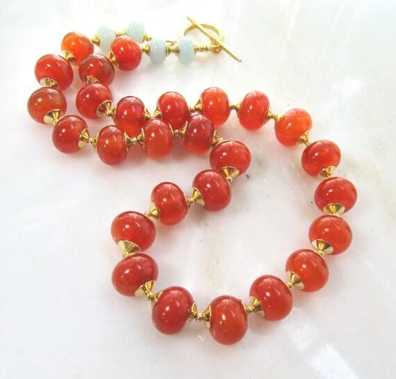 RESERVED...Pantone 2012, 22kg Vermeil, Carnelian Tangerine Tango Fine Gemstone Necklace...