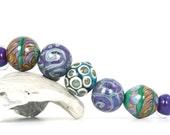 "Handmade lampwork glass bead set by Lori Lochner ""Boho plum and jade beach mix"""