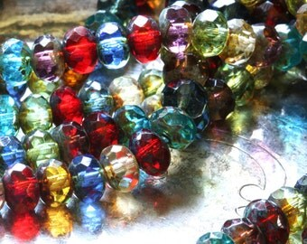 Czech glass fire polish bead strand multicolor gemstone donut 9mm x 6mm (25 beads) picasso finish