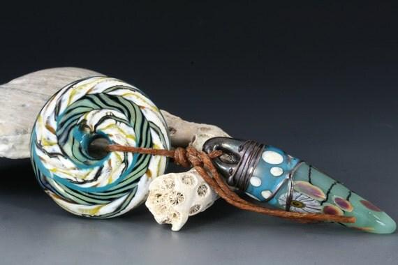 "Handmade lampwork glass focal bead by Lori Lochner ""Celadon Green Dagger and Disc Talisman"""