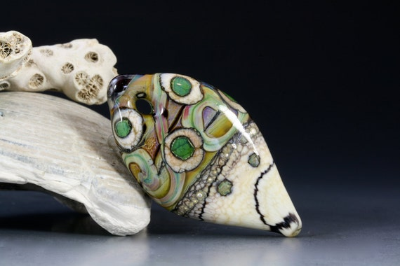 "Handmade lampwork glass focal pendant by Lori Lochner ""Tribal Bone Shield Talisman"""