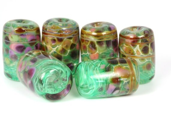 """Lampwork glass bead set by Lori Lochner """" Swirly green and mottled rose"""""""