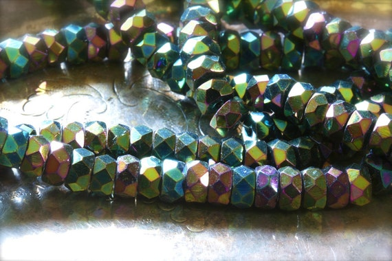 Czech glass fire polish bead strand 6mm x 3mm faceted rondelle in iris green (48 beads)