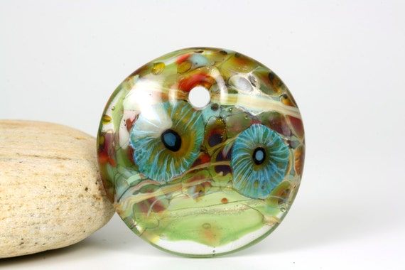 "Lampwork glass bead handmade pendant by Lori Lochner ""Water Garden"""