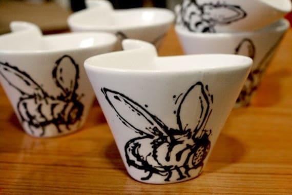 Killer Bees Set of FIVE Tea Cups
