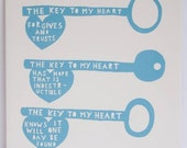 The Key To My Heart Tile (blue)