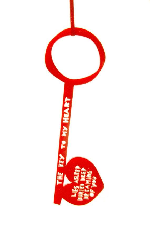 The Key To My Heart Lies Asleep,  Orange Acrylic Key