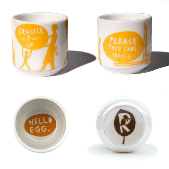 Fragile.... Egg cup in Yellow