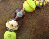 SALE Lampwork Bead Set -Spring Mix- (5) Handmade by Andrea Pirkey SRA