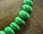 Handmade Lampwork Glass Bead Set -Grass Green Spacers- (10) by Jason Powers SRA LE