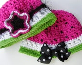 Crochet Patterns Watermelon Hat Bucket Style Newborn to Adult Small PDF Easy Permission to Sell Finished Product No.16