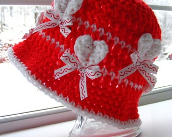 Crochet Hat Pattern with Hearts No Applique Needed 3 Dimensional Hearts Valentines Day Instant Download Product No.39