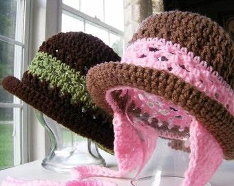 Crochet Hat Patterns - Childs Earflap Hat Pattern - Womans Crochet Hat Pattern with Rolled Brim 12 mo thru Adult No.24