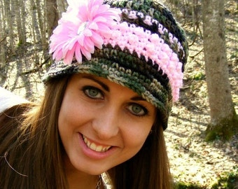 Crochet Hat Pattern Bucket Style - 12mo to Adult - Mini Popcorn Band - Flower Application Tutorial -  PDF - No.15