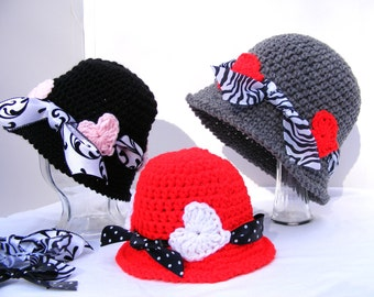 Crochet Hat Pattern - Flapper Cloche with Hearts - Newborn to Adult Large - Easy - Digital File PDF No.44