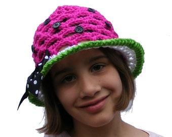 Crochet Hat Patterns - Watermelon or Patriotic Sun Hat - Crochet Sun Hat - Baby thru Tween - Instant Download  No. 53