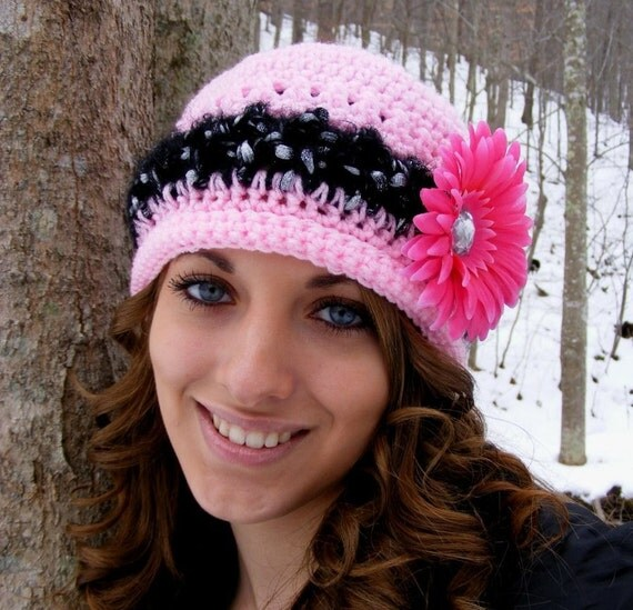 Crochet Hat Patterns - Slouchy -Preemie to Adult Flower Attachment Tutorial -  Instant Download No.27