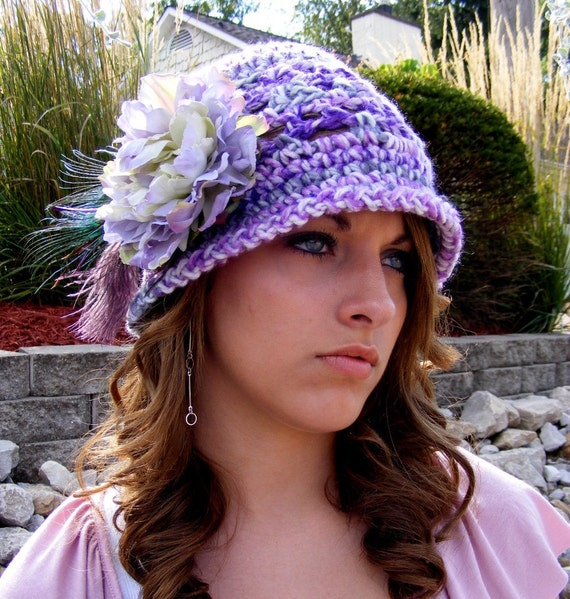 Crochet Hat Pattern - Vintage Inspired - Easter Fashion - Preemie to Adult -Tute Heirloom Placement of Feather Flower Instant Download No.41