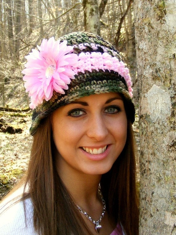 Crochet Pattern Instant Download PDF Bucket Style Hat Camo and Pink Bucket 12mo - Adult Large Flower Application Tutorial No.15